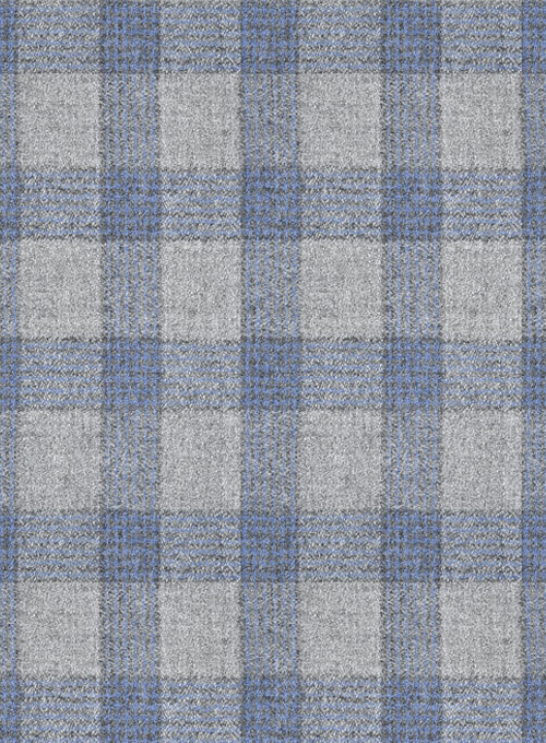 Italian Wool Cashmere Gray Blue Checks Jacket - Click Image to Close