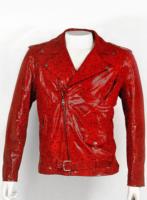 Red Python  Leather Biker Jacket # 2
