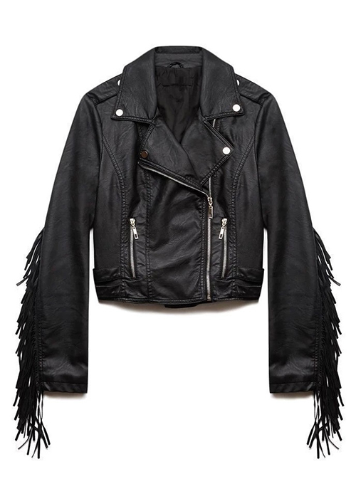 Leather Fringes Jacket #1008