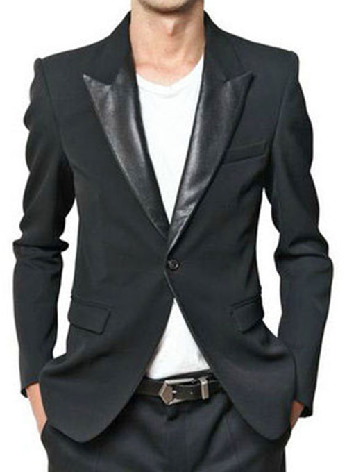 Jacket With Leather Lapel