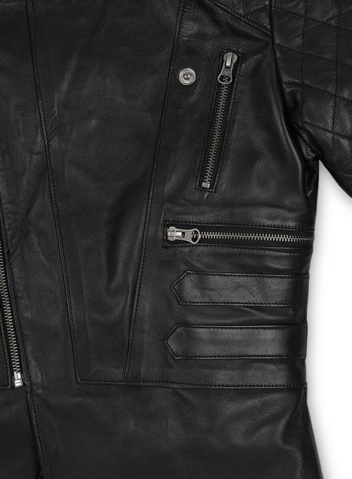 Leather Biker Jacket # 529 - Click Image to Close