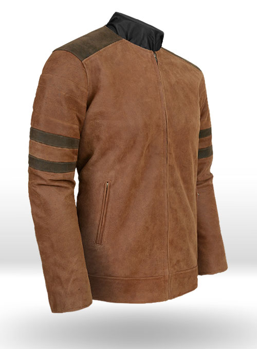 Light Vintage Tan Hide Leather Fighter T-Shirt Jacket - Click Image to Close