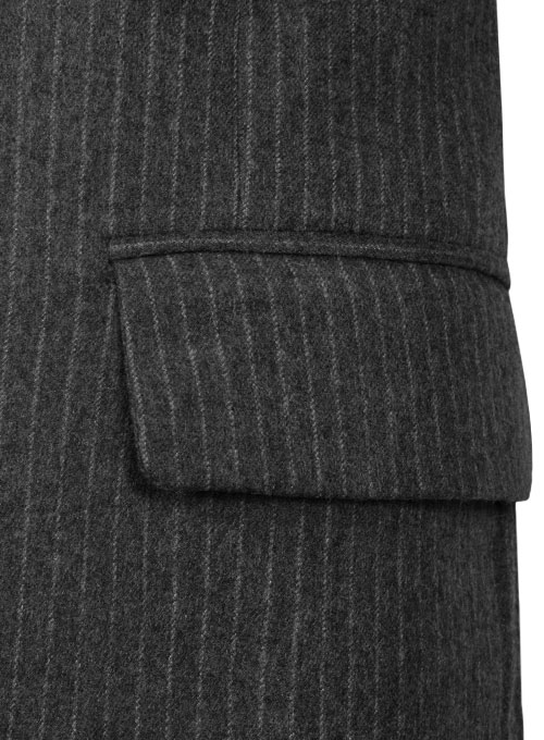 Light Weight Charcoal Stripe Tweed Jacket - Click Image to Close