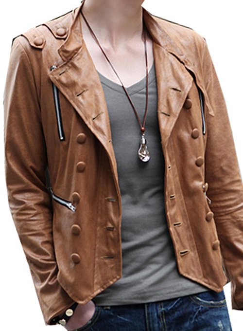 Military Leather Jacket - 50 Colors