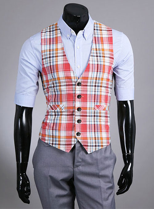 Plaid Waist Coat - Pre Set Sizes - Quick Order