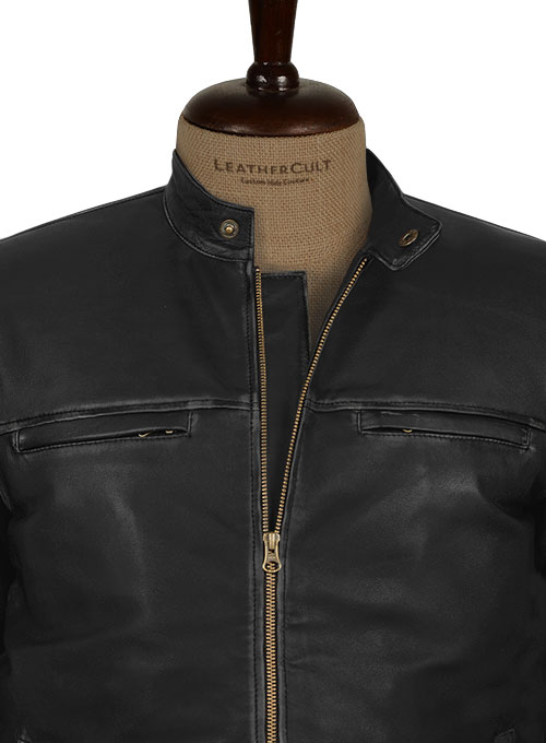 Rubbed Black Aron Taylor Johnson Godzilla 2014 Leather Jacket