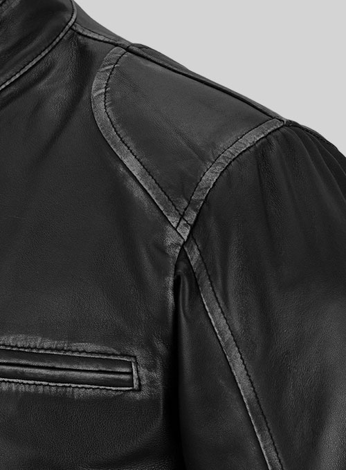 Rubbed Black Leather Jacket # 654 - Click Image to Close