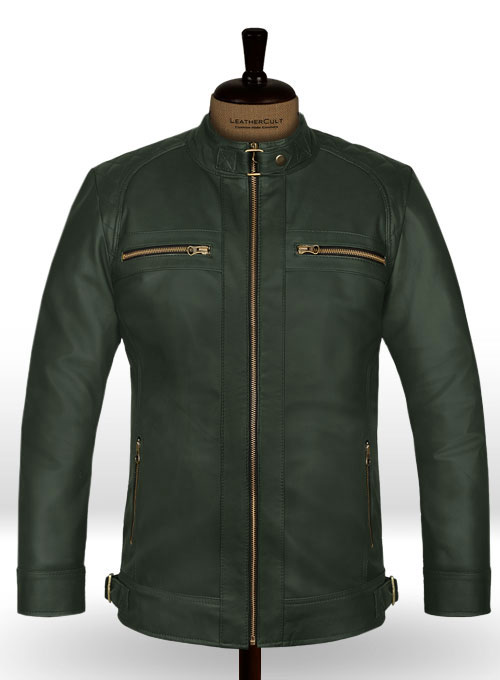 Soft Deep Olive Leather Jacket # 653