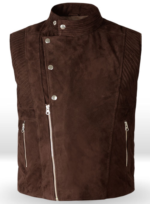 Soft Dark Brown Suede Leather Vest # 354