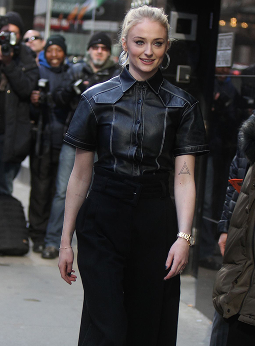 Sophie Turner Leather Shirt
