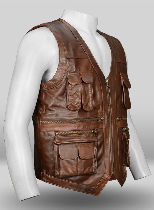 Spanish Brown Chris Pratt Jurassic World Leather Vest