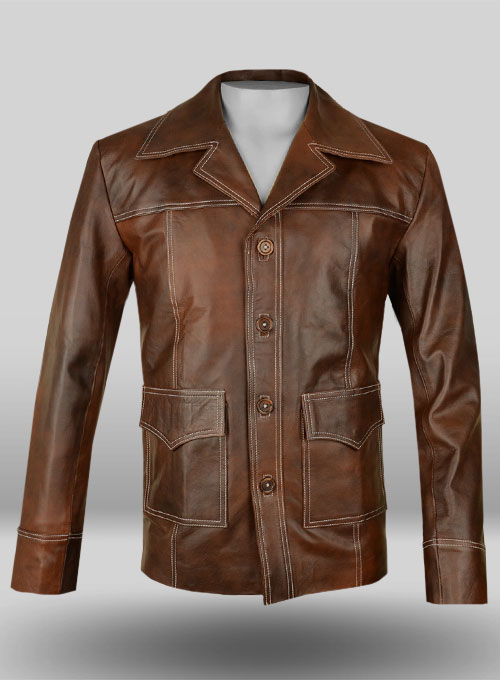 Spanish Brown Brad Pitt Fight Club Leather Jacket