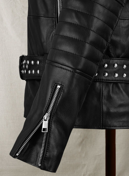 Studded Biker Leather Jacket - Click Image to Close