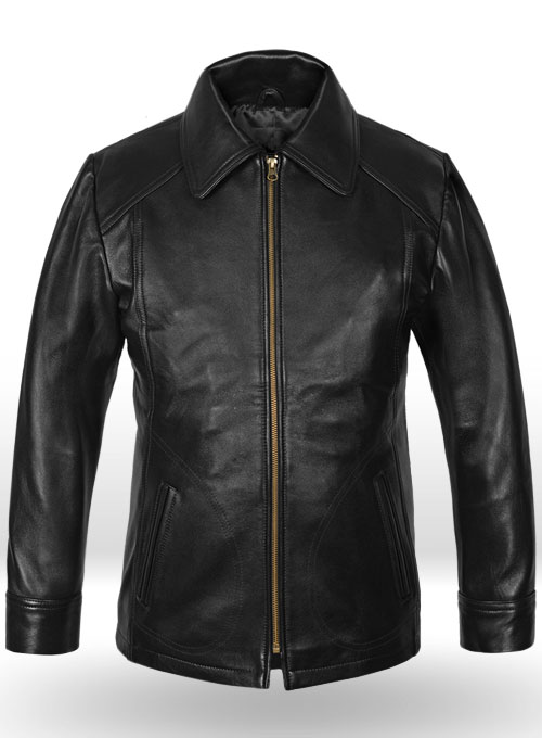 Thick Black Joseph Levitt Inception Leather Jacket
