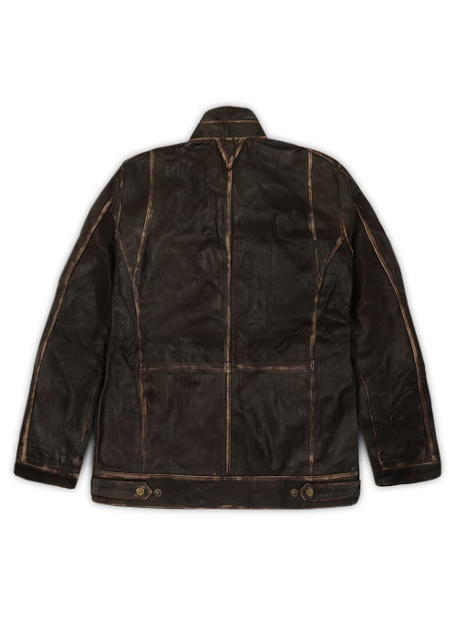 Tribal Rubbed Brown Leather Jacket - M Regular