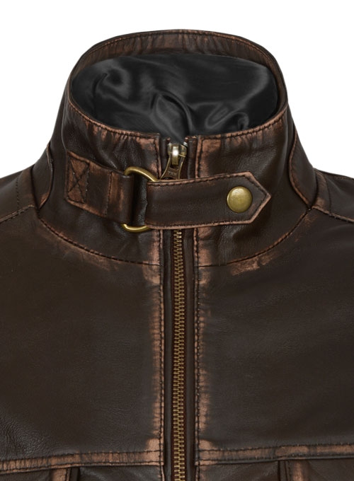 Tribal Rubbed Brown Leather Jacket - Click Image to Close