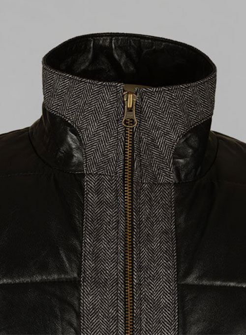 Gray Tweed Leather Combo Jacket # 643 - Click Image to Close