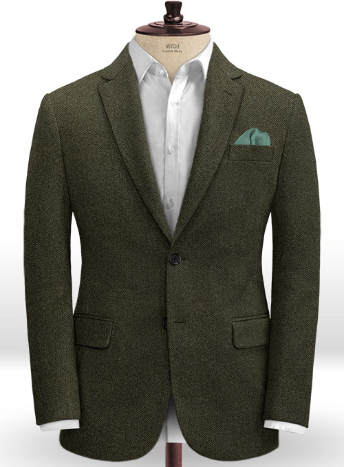 Vintage Flat Green Herringbone Tweed Jacket