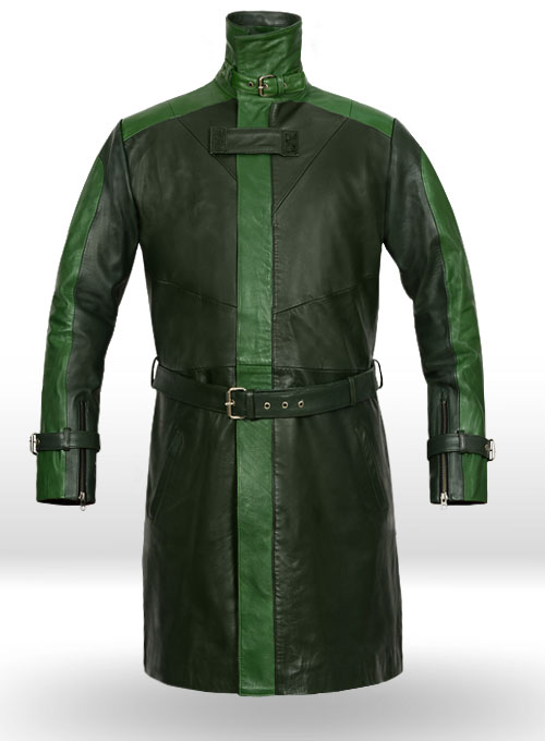Vintage Green Aiden Pearce Watch Dog Leather Trench Coat
