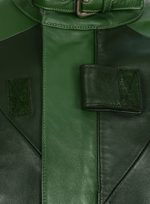 Vintage Green Aiden Pearce Watch Dog Leather Trench Coat - Click Image to Close