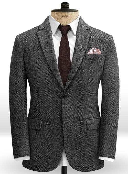 Vintage Dark Gray Weave Tweed Jacket Makeyourownjeans