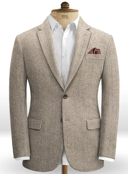 Vintage Herringbone Brown Tweed Jacket