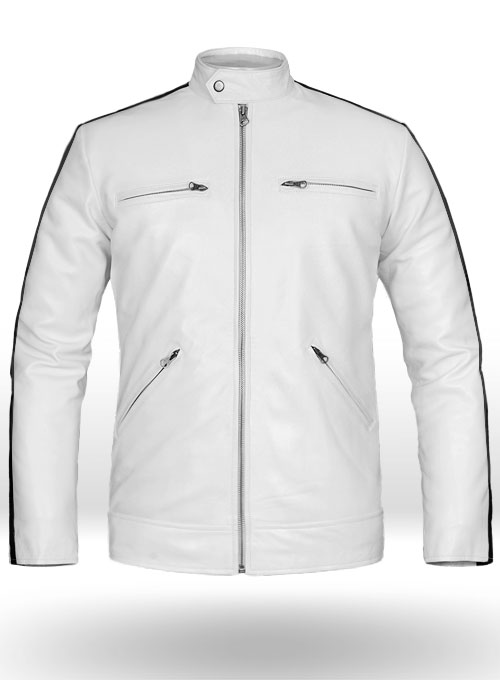 White Leather Jacket Sportsman Stripe