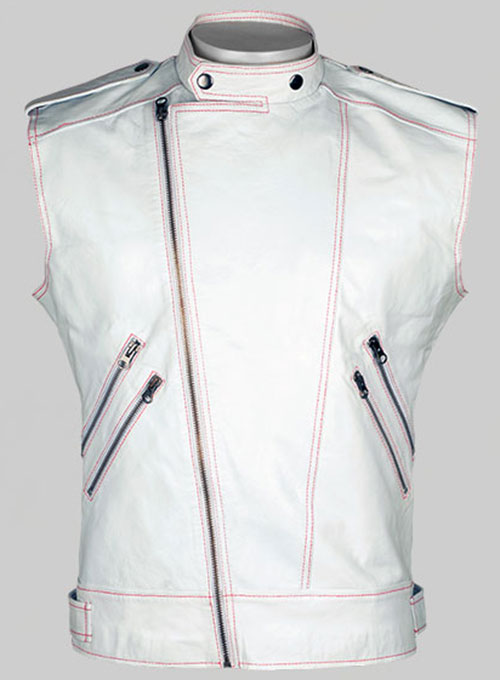White Leather Biker Vest # 313