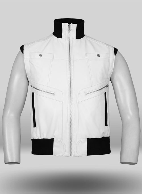 White Leather Biker Vest # 314