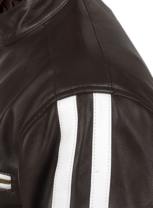 White Stripe Leather Jacket # 100