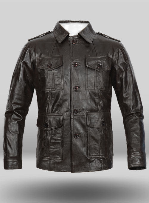 Wrinkled Brown Leather Jacket #122