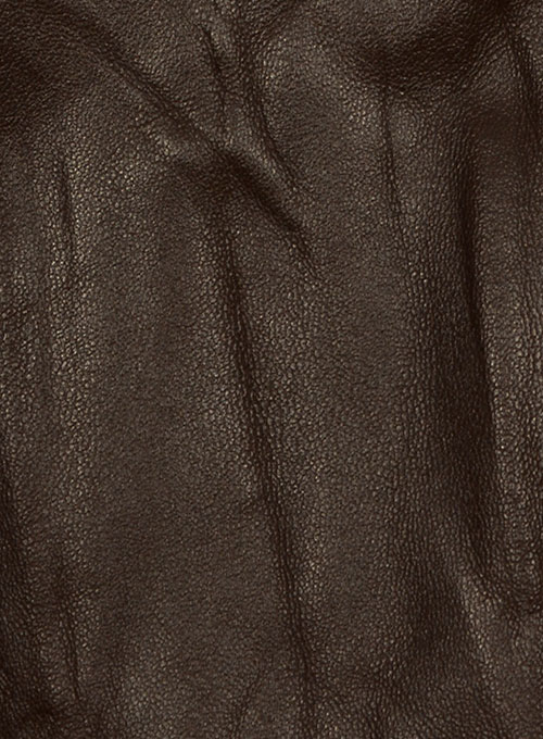Wrinkled Brown Leather Fighter T-Shirt Jacket
