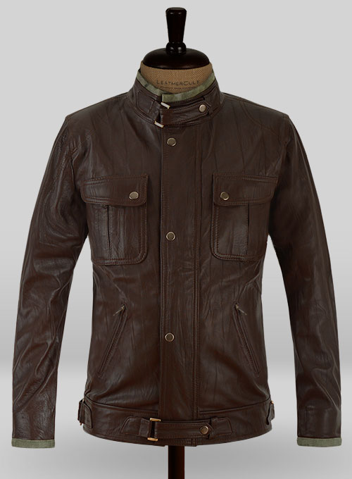 Wrinkled Brown Gerard Butler Leather Jacket #1