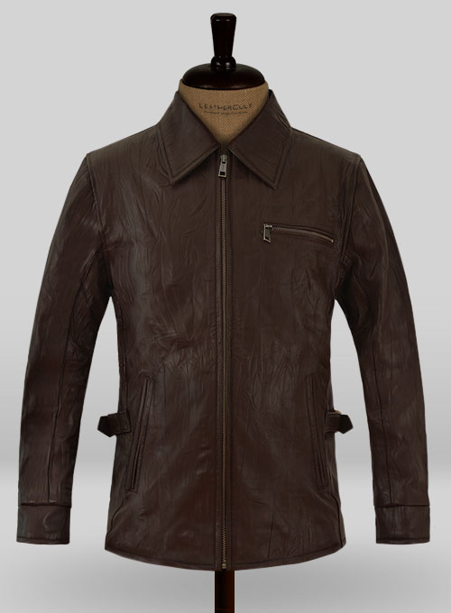 Wrinkled Brown Bruce Willis Surrogates Leather Jacket