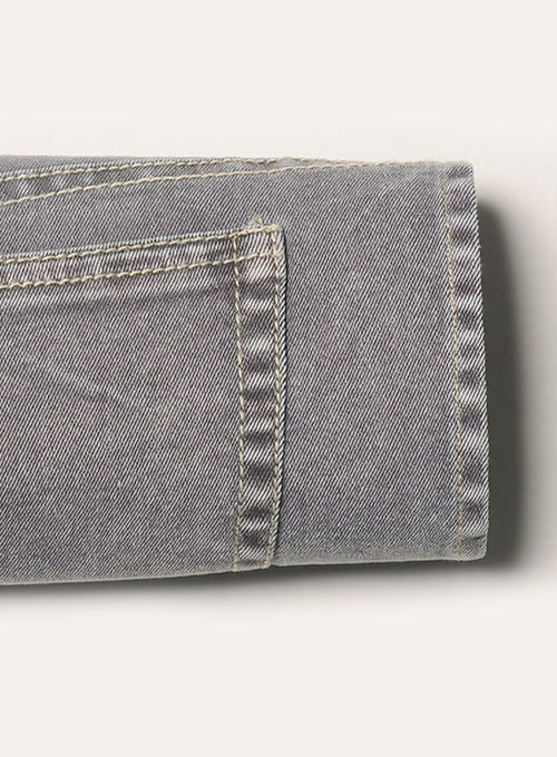 Ash Gray Stretch Jeans - Blast Wash