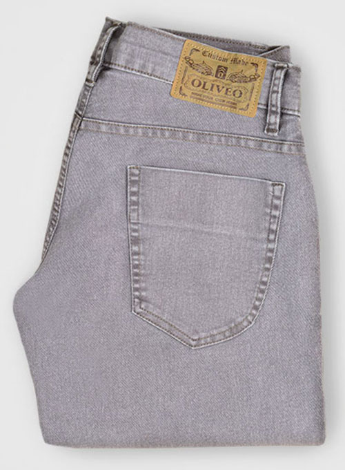 Ash Gray Stretch Jeans - Blast Wash - Look #313
