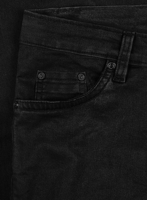 Black Body Hugger Stretch Jeans - Hard Wash - Black Thread