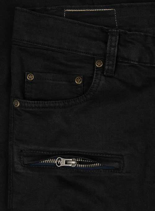 Black Body Hugger Stretch Cargo Jeans - Look #229