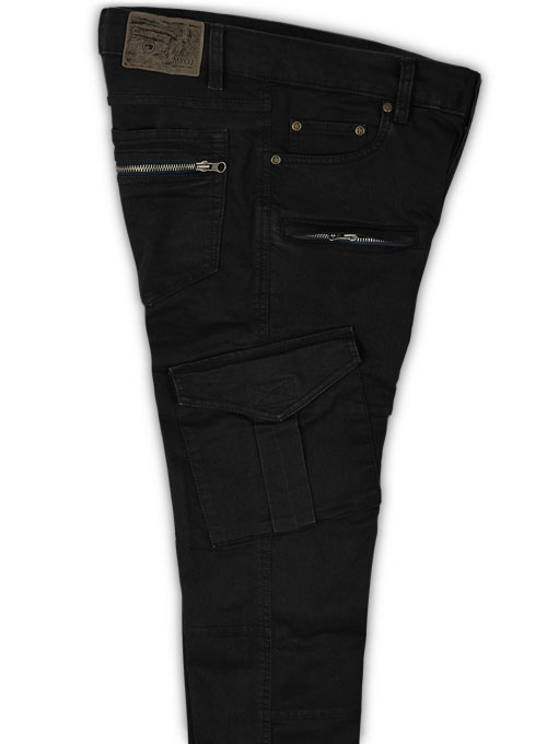 Black Body Hugger Stretch Cargo Jeans - Look #229 - Click Image to Close