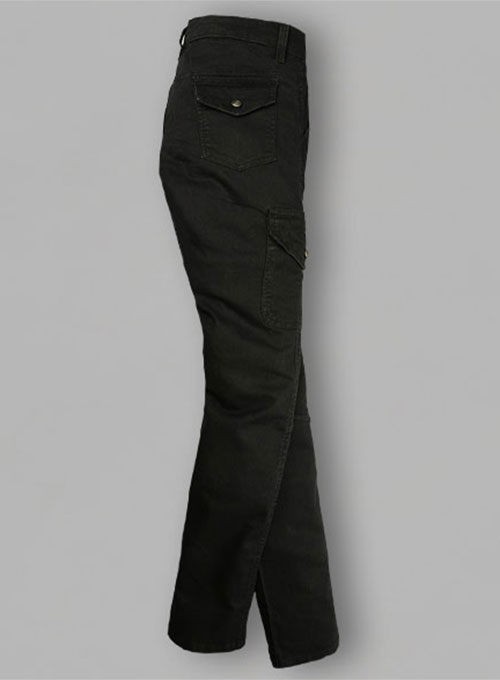 Black Body Hugger Stretch Cargo Jeans - Look #227