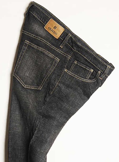 Stone Carbon Black Stretch Jeans - Scrape Wash