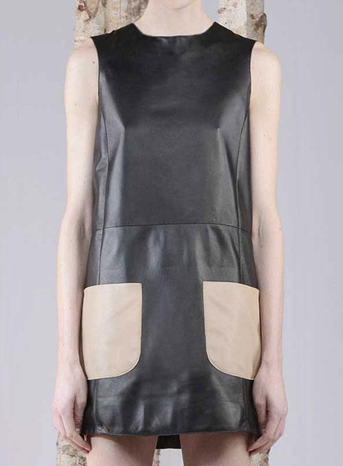 Contrast Patch Pocket Leather Dress 770