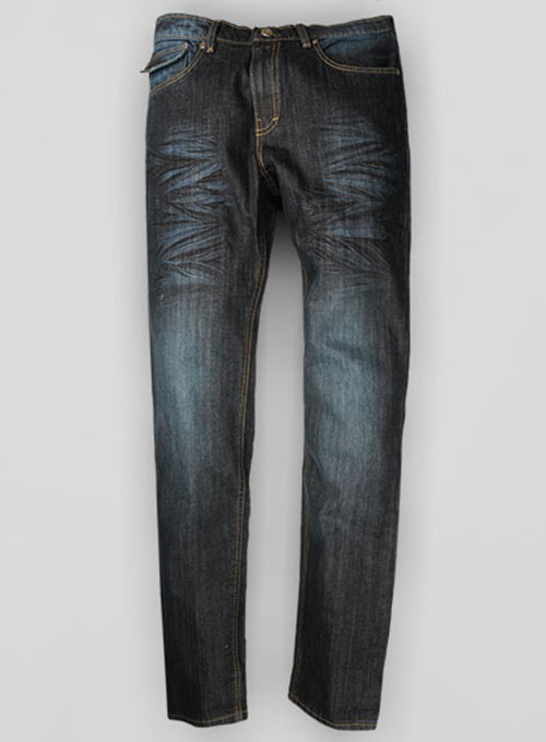 Deadly Dark Blue Hard Washed Jeans Scrape Whisked - Look # 320