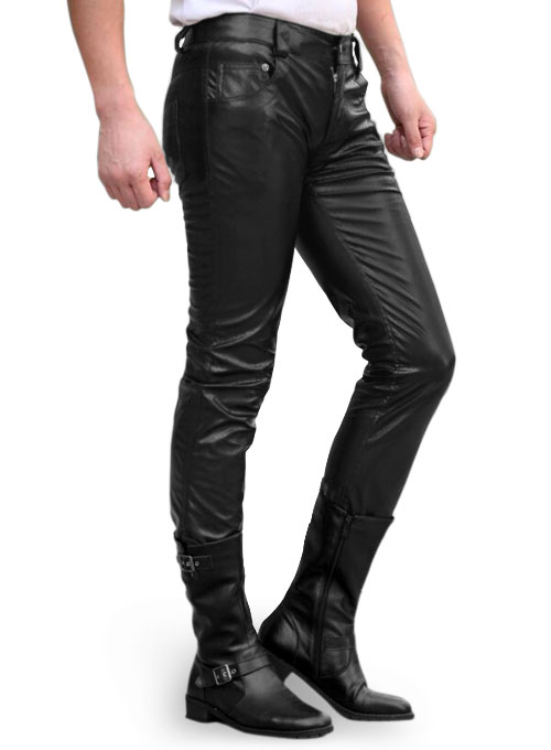 Vegan Black Stretch Leather Jeans