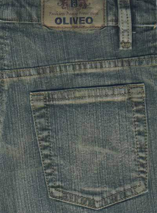 Green Stretch Denim Jeans - Vintage Wash