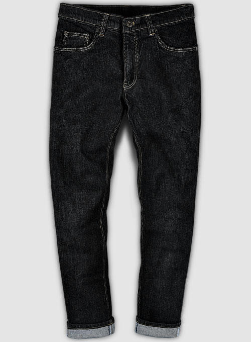 Kato Black Stretch Hard Wash Jeans