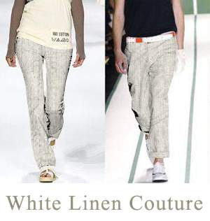White Linen Jeans - Couture Collection