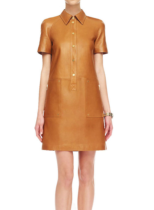 Renee Leather Shirt Dress - # 764