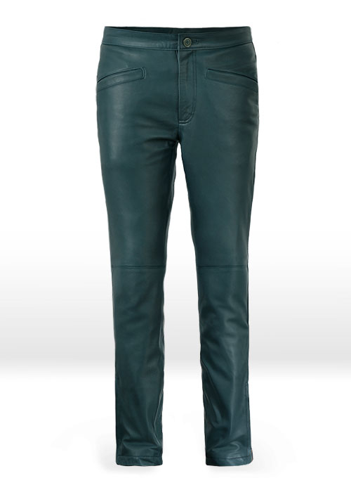 Soft Prussian Blue Zoey Leather Pants