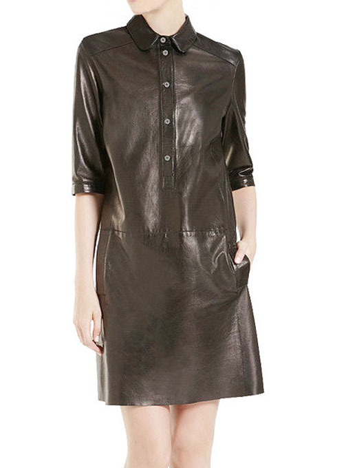 Solange Leather Shirt Dress - # 763